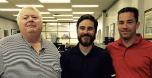 John Tennant (left) and Trevor Tennant (right) of Piston Ring Service congratulate employee Chris Tinkler (center) winner of Alliance Leadership 2.0 Scholarship