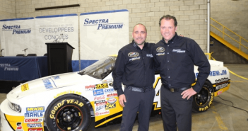 Spectra Premium's Jason Best, left, and driver Jean-François Dumoulin
