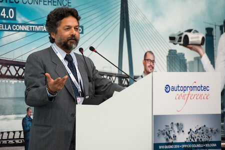 Professor Dipak R. Pant, head of the Interdisciplinary Unit for Sustainable Economy at Carlo Cattaneo University, addresses Autopromotec Conference attendees.